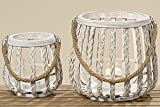 Set of 2 Bamboo Lantern White H21/29 cm Assort. Deco Garden