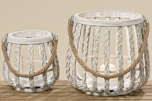 2 Bambus Laternen weiß Windlicht 2er Set sort. H21/H29cm