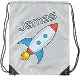 Schnee Gans und Lily Personalisiertes Kinder Kordelzug Sporttasche?Space Rocket