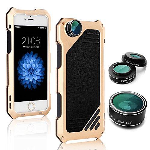 Arblove iPhone 8 ,iPhone 7 Kit Custodia Impermeabile Con 3 Lenti Cellulari,Ultra Sottile e leggero IP 54 360 Grado Alluminio Waterproof e Full Sealed Antiurto Antipolvere Cover Case per iPhone 8 ,iPho Gold
