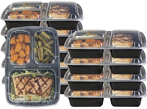 dealberry 1, 2, oder 3fach BPA-frei Mahlzeit Prep Container. Wiederverwendbar Kunststoff Frischhaltedosen mit Deckel. Stapelbar Mikrowelle Gefrierschrank Spülmaschinenfest Bento Lunch Box Set, plastik, durchsichtig, 3 Compartment