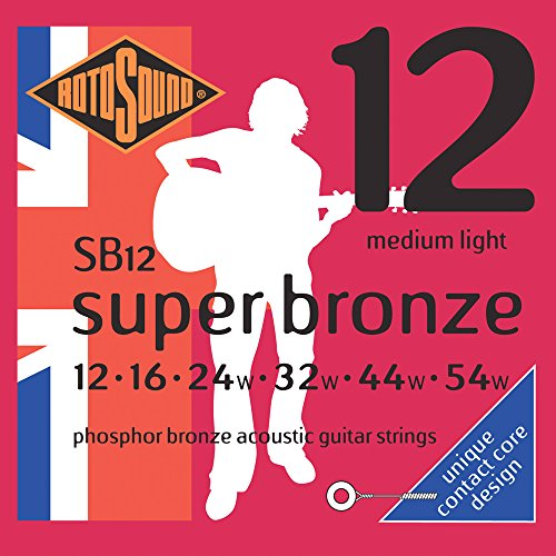 Rotosound Kontaktkern Phosphor-Bronze-Saiten für Akustikgitarren, Stärke Medium Light 12 16 24 32 44 54