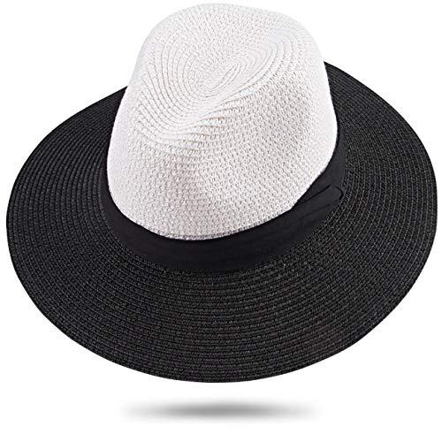 Maylisacc Panamahut Rollbar aus Natürlichen Faser Handgewebt (Schwarz & Weiß SZ) -