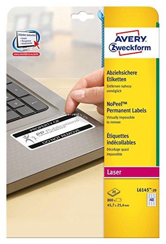 Avery Zweckform L6145-20 Abziehsichere Etiketten (A4, 800 Stück, 45,7 x 25,4 mm) 20 Blatt weiß