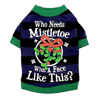 smalllee_lucky_store Pet Clothes for Small Dog Cat 100% Cotton Mistletoe Print Shirt T-shirt Striped Blue Black L 516X5RB8TjL