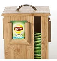 2 en 1: Distributeur et Présentoir de sachets à thé sur support rotatif - En bambou