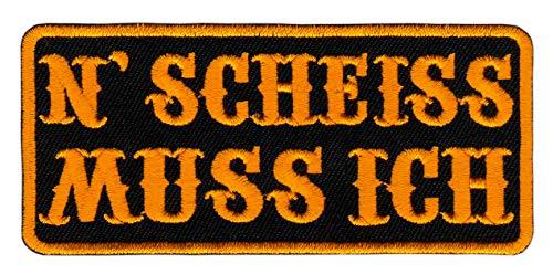 Bestellmich Schwarz Gelb N Scheiss MUSS ICH Aufnäher Bügelbild Patch Größe 10 x 4,5 cm (Schwarz N Gelb)
