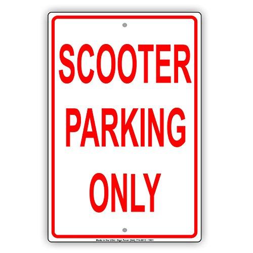 """Scooter Parking Only vorbehalten Alert Vorsicht Achtung Hinweis Aluminium Metall blechschild Teller 12""""x18"""""""