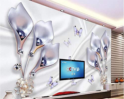 MuralXW Tapetenwand Edle Satin Tulpe Schmuck Hintergrund Wand einfache Mode Klassiker 3D Tapete 3D Tapete-450x300cm