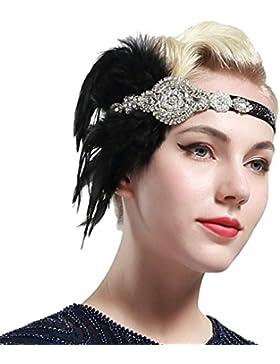 BABEYOND Años 20 Flapper Diadema de Plumas Diadema Gatsby Vintage Cinta para el Pelo con Cuentas de Cristal Accesorios...