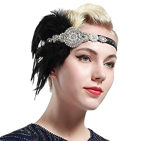 Babeyond® Bandeau des années 1920 Bandeaux de Flapper Style Gatsby des années 1920 Coiffe de plume nuptiale (noir)