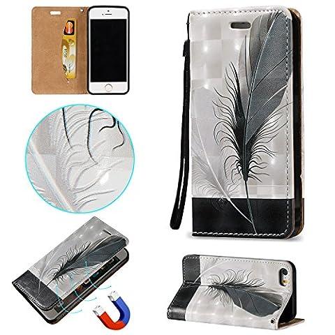 Coque Etui pour iphone 5 / 5S / SE, Cozy Hut [3D Crystal Coeur Imprimé] Housse Etui à Rabat de Protection en Cuir Véritable pour iphone 5 / 5S / SE (4,0 Pouces), Style de Portefeuille avec Porte-cartes, Fermeture Magnétique et Fonction Support - plume