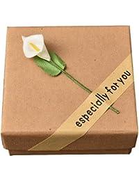 La Vogue Boîte Petit Carré Carton Bague Bijou Collier Boucle d'Oreille Cadeau Coffret 8.5*8.5*3.5cm