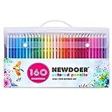 Kit de 160 crayons de couleur magnifiques Newdoer - Excellents pour les artistes, les bandes dessinées, les illustration, les architectes d'intérieur, les étudiants, les passionnés de coloriage enfants et adultes, superbe cadeau de Noël