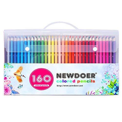 Newdoer Set straordinario di 160 matite colorate, di suprema qualità per artisti, illustratori di fumetti, decoratori d'interni, studenti d'arte e come regalo di Natale per adulti che amano colorare