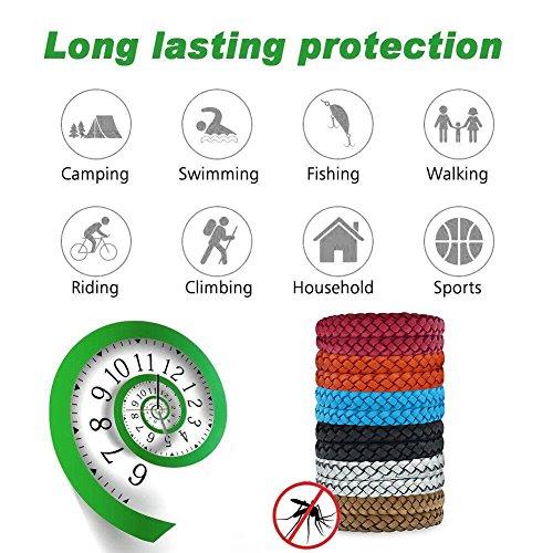 Imagen de fuhaoo pulseras repelentes de mosquitos, 12 unidades, con pulsera de piel que protege contra los insectos para adultos y niños, sin deet alternativa