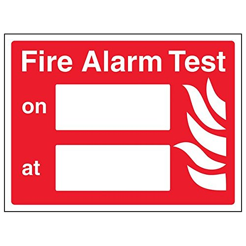 "vsafety 13045 ar-r ""FIRE ALARM Test"" Sign, Landschaft, 200 mm x 150 mm (Pack von 3)"