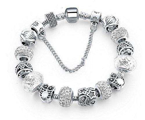 BS - Nouveauté Bracelet Charms - Plaqué Argent, Breloques Cristal et Verre Véritable - Collection 'Boîte de Pandore' Exclusive 2018