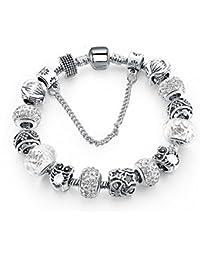 BS - Nouveauté Bracelet Charms - Plaqué Argent, Breloques Cristal et Verre Véritable - Collection 'Boîte de Pandore' Exclusive 2017
