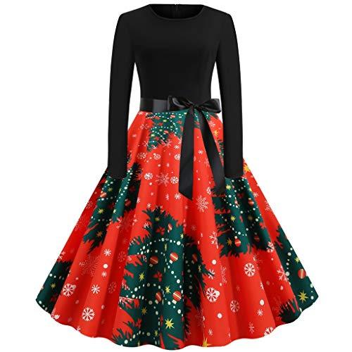 Ashui Rétro Vintage Robe Années 50 's Style Audrey Hepburn Imprimé Floral Elégant Col Rond Manches Courtes Jupe Femme Robe de Hiver Noël Party Fête Vêtements Deguisement Noël Robe