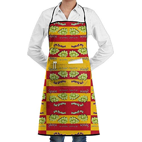 Drempad Schürzen Adjustable Bib Apron with Pockets - Commercial Restaurant and Home Kitchen Apron - Danita\'s Spanish New Year Wallpaper (4679) Print