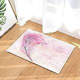 Gohebe Dessin animé Rideau de Douche Rose Plume pour Enfants antidérapant Paillasson Tapis de réception Intérieur Porte Avant de Sol Enfants Tapis de Bain 15,7x de Accessoires de Salle de Bain