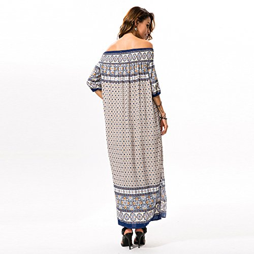BigForest Damen Printed Off The Shoulder split Boho beach maxi kleid long Dress Beige