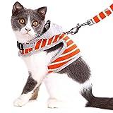 ASOCEA Hundegeschirr mit Leine, verstellbar, weiche Baumwolle, gestreift, Hundegeschirr mit Kapuze, Kätzchen, Kaninchen, Kleidung zum Laufen, Joggen, Fluchtsicher