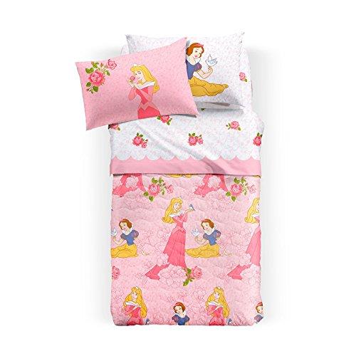 Tagesdecke Einzelbett Disney Princess Rose aus Baumwolle cm 165x 265Für Die Halbsaison (Disney Princess Rose)