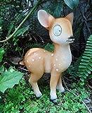 Unbekannt Deko-Rehkitz 'Bambi' mit LED Solar Funktion, Stehend, Gartendekoration, 15x10,5x26 cm, Steinharz, REH Hirsch Garten Balkon