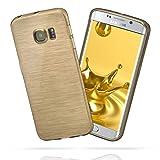 moex Samsung Galaxy S6 Edge Plus | Hülle Silikon Gold Brushed Back-Cover TPU Schutzhülle Ultra-Slim Handyhülle für Samsung Galaxy S6 Edge+ Plus Case Dünn Silikonhülle Rückseite Tasche