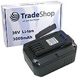 Trade-Shop Premium Li-Ion Akku 36V / 3000mAh / 108Wh für LUX-Tools Highwheel-Akku-Rasenmäher A-36 Li/38 H ersetzt 36LB2600, 36LC01