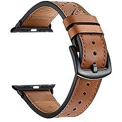 Zeiger Bracelet Cuir pour Apple Watch 38mm 40mm Marron Série 1 2 3 4 Compatible Cuir Véritable Style à Point Polka Noir Verrouillage Amélioré Remplacement Boucle Ardillon Acier Inoxydable