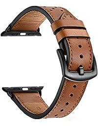 Bracelet Cuir de Montre Homme 22mm Zeiger 42mm Montre Bracelet en Cuir Marron Veritable Remplacement Bande Ajustable pour l'Apple Watch Bande pour Montres Intelligentes B030-BROWN