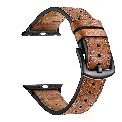 ZEIGER 38MM Brown Genuine Leather Watch Band for Apple Watch (22mm Aluminium-uhrenarmband)
