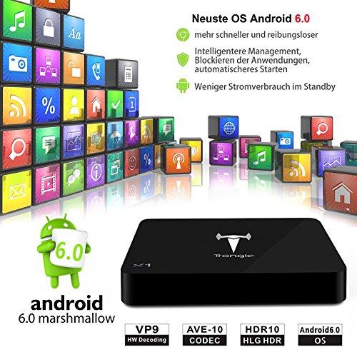 [Mit Wireless Mini Tastatur] SEGURO X1 Android 6.0 TV Box, KODI 16.1 Streaming Media Player Amlogic S905X Quad Core 2GB+8GB eingebaute WIFI mit vorinstallierte Add-ons, Support OTA Online Upgrade - 3