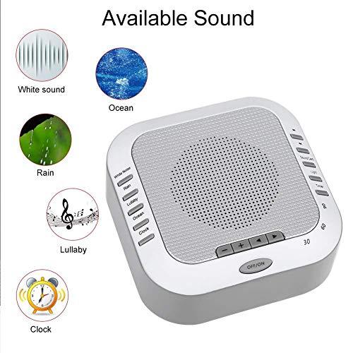 Sleeping White Noise Machine, 5 Arten Von Beruhigenden Natürlichen Klangtherapie, Mit 3 Timer-Optionen Und LED-Nachtlicht, Unterstützt Die Wiedergabe Von SD-Karten