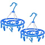 com-four 2X Camping Wäschetrockner, Wäschespinne aus Kunststoff zum Aufhängen mit jeweils 13 Aufhängeklammern, in blau, Ø ca. 27 cm (02 Stück - blau)