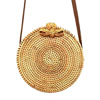 Yinitoo Handwoven Round Rattan Bag, Straw Shoulder Bag Straw Handbag Rattan Boho Purse with Shoulder Leather Strap for Women