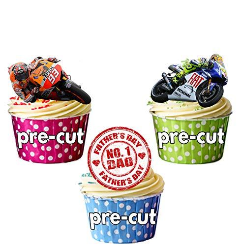 AKGifts Festa del papà, Moto GP a Tema Cake Decorations-commestibile per Torte e Cupcake (Confezione da 12)