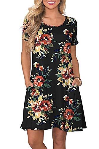 Sommerkleider Damen Casual Kurzarm T-Shirt Kleid Kurzen Blumen Bedrucktes Strandkleider mit Taschen, Schwarz, Large (Frauen Blume Kleid)