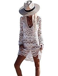 iBaste Hueco de Encaje Blusa Playa Vestido de Crochet de Manga Larga