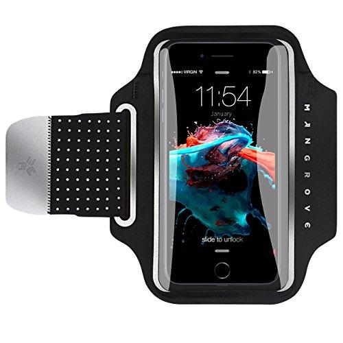 Mpow Mangrove Sportarmband Hülle, Anti-Drop- und maschinenwaschbares Laufarmband Armband Hülle Armtasche Handyhülle bis 5,2 Zoll, mit Reflexstreifen, HD-Folie, empfindlicher Touchscreen