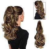 FESHFEN Postiche Extension de Cheveux Queue de Cheval 48,3 cm Cheveux Bouclés Synthétiques avec Grande Pince