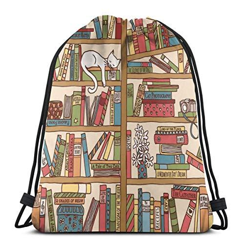 Handgezeichnete Bücherregal mit Katze Drawstring Rucksack String Sack Gymbag Outdoor Travel Storage 14 X 17 Zoll schlafen -