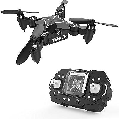 TENKER SKYRACER - Faltbare Mini Drohne mit Modus zum Beibehalt der Höhe & Kopflosmodus Taste zum Starten / Landen, Zurückkehrfunktion 3D Flips & Rollen Schweben stabiler Quadcopter 901H Blau von TENKER