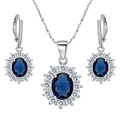 EVER FAITH® 925 Sterling Silber CZ Elegant Blume Prong Setting Pendant Halskette Ohrringe Set blau