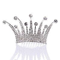 AlicePub Colorful Rhinestone Kids Princess Tiara Crown Headpiece for Flower Girls w Comb, Silver
