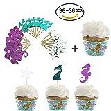 36 piezas de decoración para cupcakes de sirena y 36 piezas de cupcakes con purpurina temática para pasteles, púas de caballo de mar estrella de mar para decoración de tartas para baby shower, fiesta de cumpleaños, regalos temáticos, decoración de tarta