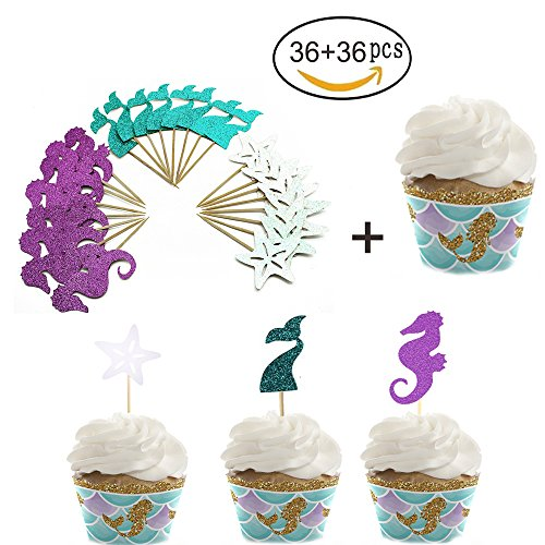 36ps Mermaid Cupcake Toppers und Cupcake Wrapper Glitter Kuchen Picks Seepferdchen Starfish Schwanz Topper (Little Mermaid Cupcake)